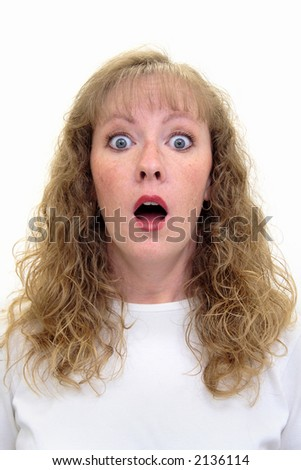 Caucasian woman with a shocked or surprised look on her face. Isolated on white. - stock photo