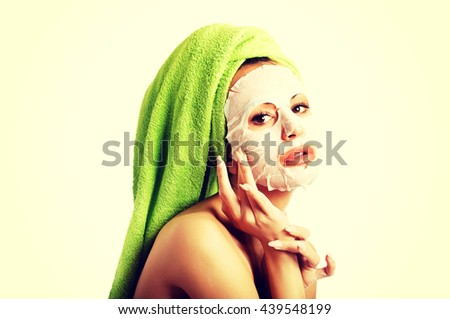 Caucasian woman with face mask - stock photo