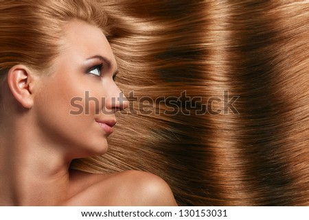 Caucasian woman with long beautiful blond hair