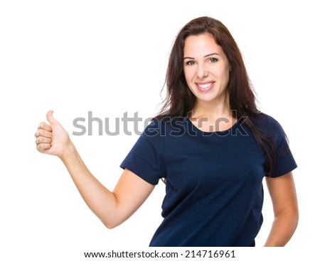Caucasian woman with thumb up