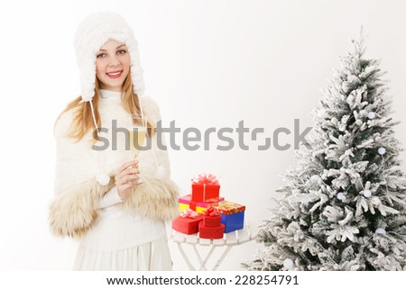 Caucasian women with champagne - stock photo