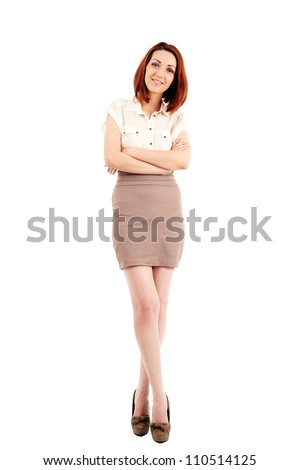 Caucasian young businesswoman isolated on white, full length - stock photo