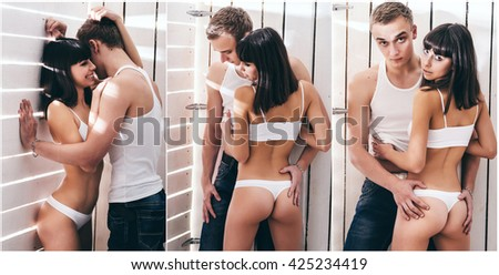 Caucasian young couple in studio. Sexy style. - stock photo