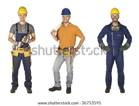 caucasian young different manual worker collection isolated on white - stock photo