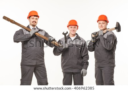 caucasian young different manual worker collection isolated on white tools - stock photo