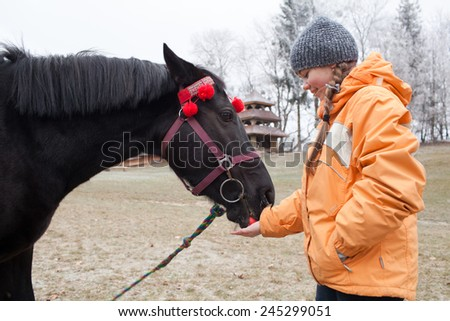 Caucasian young girl was feeding a horse an apple - stock photo