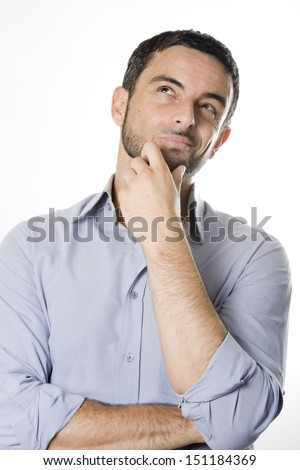 Caucasian Young Man with Beard Thinking Doubting and Considering a Decision Isolated in White Background - stock photo