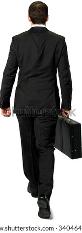 Caucasian young man with short dark brown hair in business formal outfit holding briefcase - Isolated