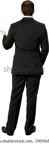 Caucasian young man with short dark brown hair in business formal outfit with hands in pockets - Isolated