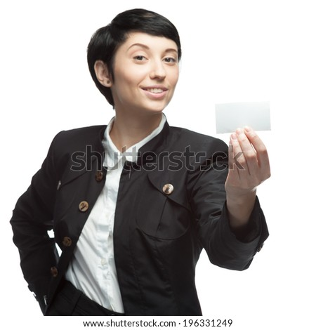 caucasian young smiling business woman holding business card. isolated on white - stock photo