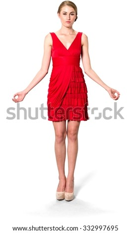 Caucasian young woman with medium blond hair in evening outfit with meditation hands - Isolated - stock photo