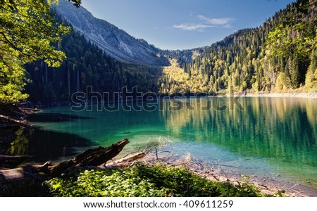 Caucasus. Abkhazia. Riza lake, autumn yellow-green forest and white snow peaks, reflecting in the calm water of the lake.