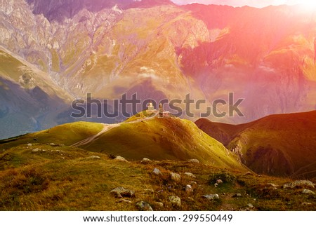 Caucasus green hills and mountains, on the sunset. Georgia - stock photo