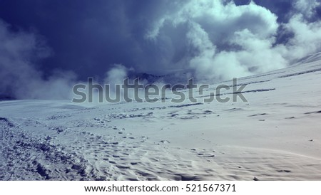 Caucasus mountain Mount Elbrus, Russian Federation. Top of mountains