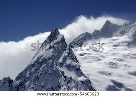 Caucasus Mountains. Dombay. Peak Ine. Close-up. - stock photo
