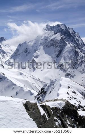 Caucasus Mountains. Dombay-Ulgen. - stock photo