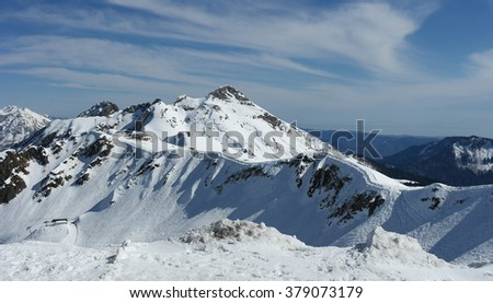 Caucasus mountains, winter landscape, snow mountain, ski track, sunny day, Sochi, Russia - stock photo