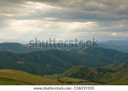 Caucasus Russia, landscape, on the road to Mount Elbrus - stock photo