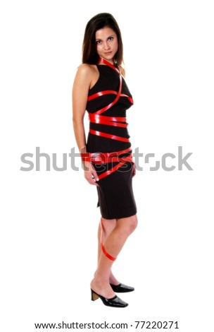 Caught in red tape - stock photo