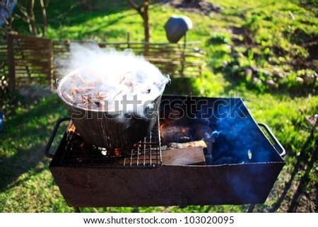 cauldron crayfish - stock photo
