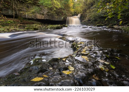 Cauldron Falls, West Burton in the Yorkshire Dales - stock photo