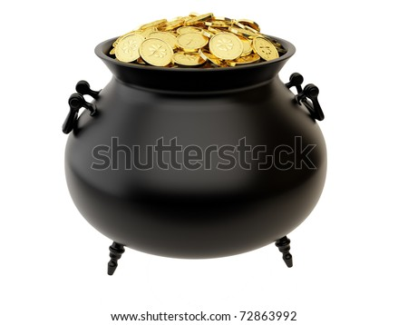 Cauldron of golden coins with the image of clover. - stock photo