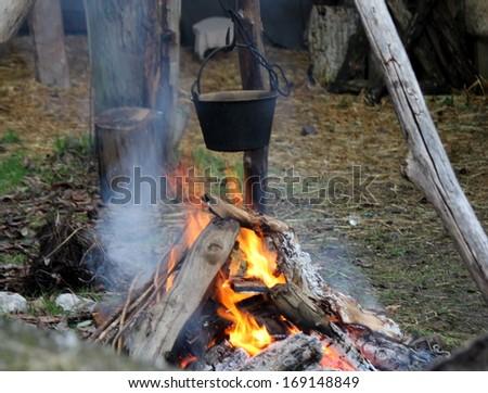 cauldron on the fire - stock photo