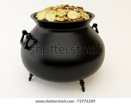 Cauldron with golden coins - stock photo