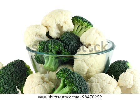 Cauliflower and broccoli in transparent bowl isolated on white - stock photo