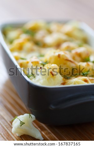 cauliflower baked with egg and cheese with dill