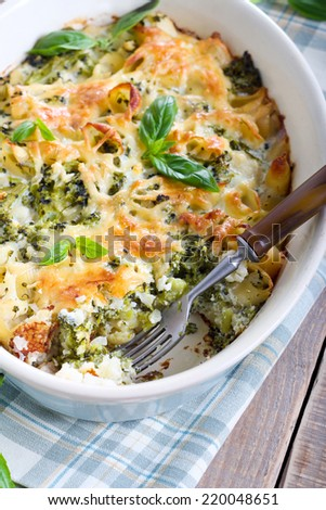 Cauliflower, broccoli and pasta bake - stock photo