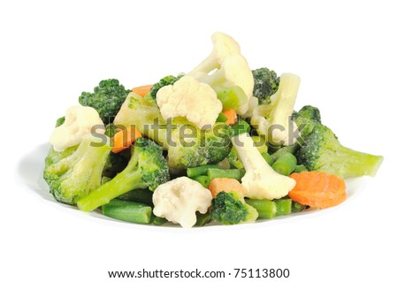 Cauliflower, broccoli, carrots and beans on a plate. Isolated on white. - stock photo