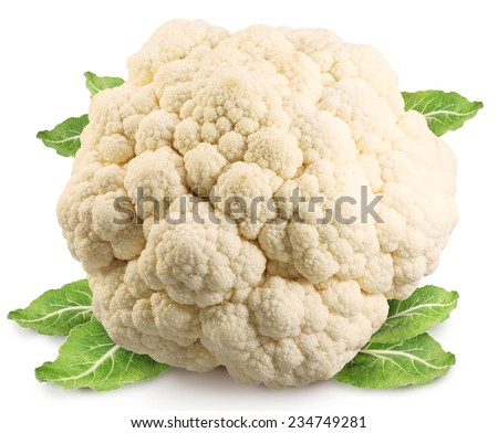Cauliflower (cabbage) isolated on white background. Clipping path. - stock photo