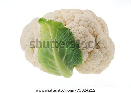 Cauliflower isolated on white - stock photo