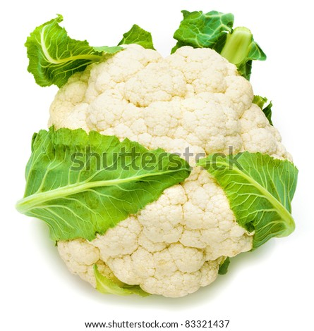 Cauliflower isolated on white background. - stock photo