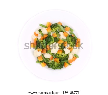 Cauliflower salad. Isolated on a white background. - stock photo