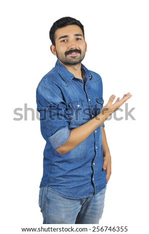 Causal Man Gesturing Showing on White - stock photo