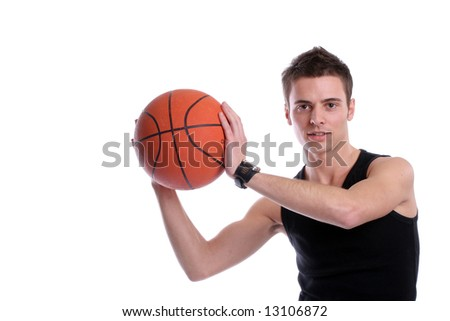 Causal man holding basketball ball, isolated on white background - stock photo