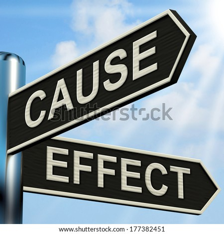 Cause And Effect Signpost Meaning Results Of Actions - stock photo