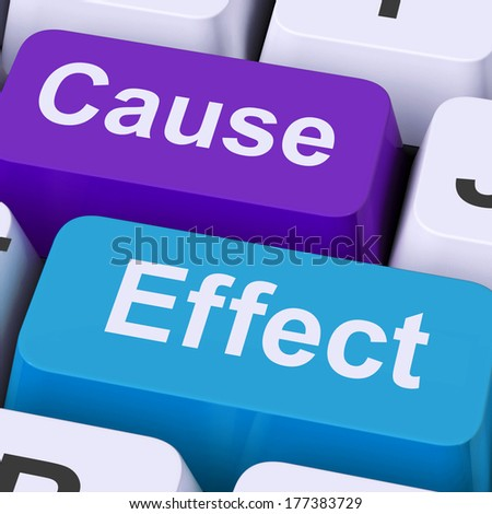 Cause Effect Keys Meaning Consequence Action Or Reaction - stock photo