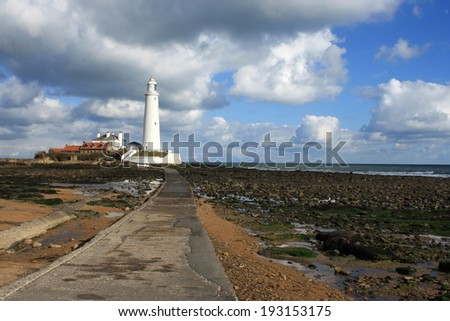 causeway to St. Mary's Lighthouse in Whitley Bay - stock photo