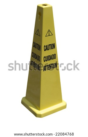 Caution - a yellow cone with text.