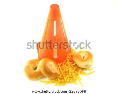 Caution Against Carbs in Bagels and Pasta for People on a Low Carbohydrate Diet Isolated on a White Background - stock photo