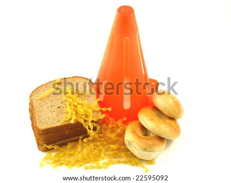 Caution Against Carbs in Bagels, Bread, and Pasta for People on a Low Carbohydrate Diet Isolated on a White Background - stock photo