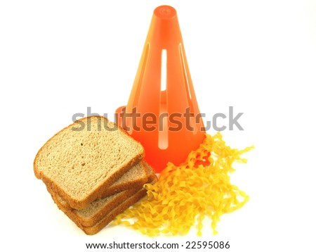 Caution Against Carbs in Bread and Pasta for People on a Low Carbohydrate Diet Isolated on a White Background - stock photo