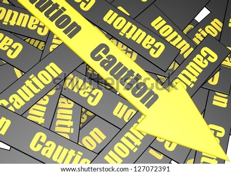 Caution banner - stock photo