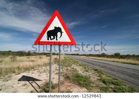 Caution: Elephants! Road sign standing beside road. Namibia. Africa - stock photo