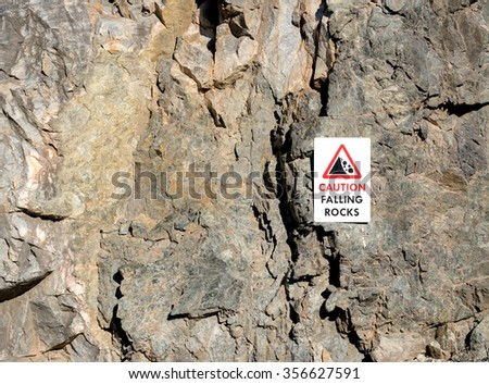 CAUTION FALLING ROCKS sign on the side of a vertical limestone cliff.  There is room for text. - stock photo