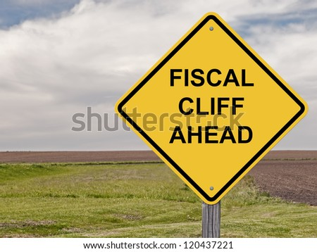 Caution - Fiscal Cliff Ahead - stock photo