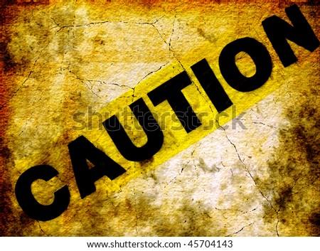 Caution Grunge Wall - stock photo